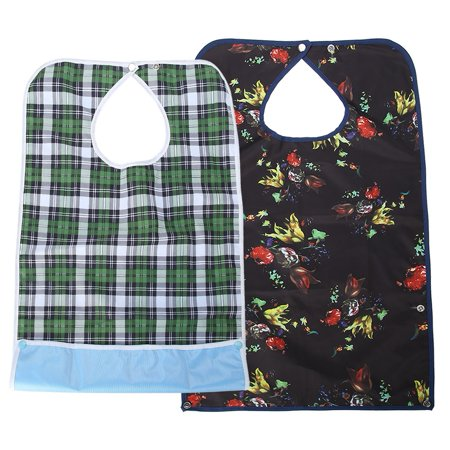 Image of Fugacal Adult Waterproof Mealtime Bib Double Layer Elder Dinning Clothes Protector Blue, Waterproof Bib, Mealtime Bib