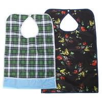 Fugacal Adult Waterproof Mealtime Bib Double Layer Elder Dinning Clothes Protector Blue, Waterproof Bib, Mealtime Bib