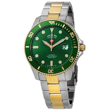 Swiss Military Invincible Green Dial Automatic Men's Two Tone Watch 3013 (Men Watches Automatic Swiss Made)
