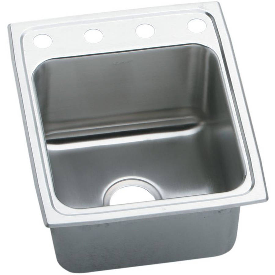 Elkay DLRQ172210OS4 Gourmet Lustertone Stainless Steel Single Bowl Top Mount Quick-Clip Sink with OS4 Faucet Holes