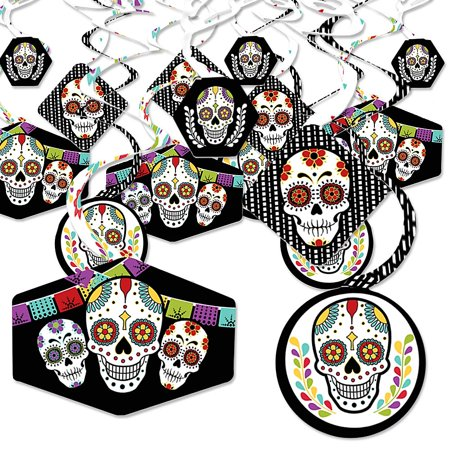 Dead Famous Halloween Party (Day Of The Dead - Halloween Sugar Skull Party Hanging Decor - Party Decoration Swirls - Set of)