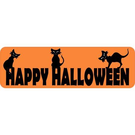 10in x 3in Orange Happy Halloween Bumper Sticker Vinyl Holiday - Happy Halloween Holiday World
