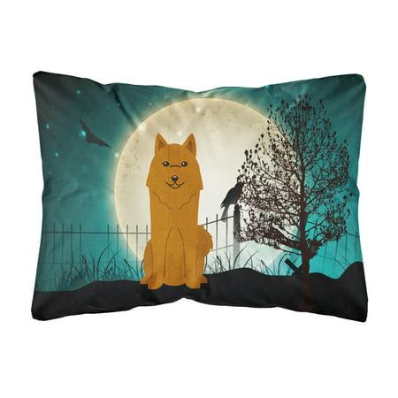 Halloween Scary Karelian Bear Dog Canvas Fabric Decorative Pillow - Halloween Bear Dog