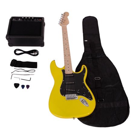 (Ktaxon School 15w AMP ST Burning Fire Electric Guitar with Black Fender)