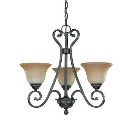 bronze finish with champagne linen glass chandelier light fixture 60. Black Bedroom Furniture Sets. Home Design Ideas