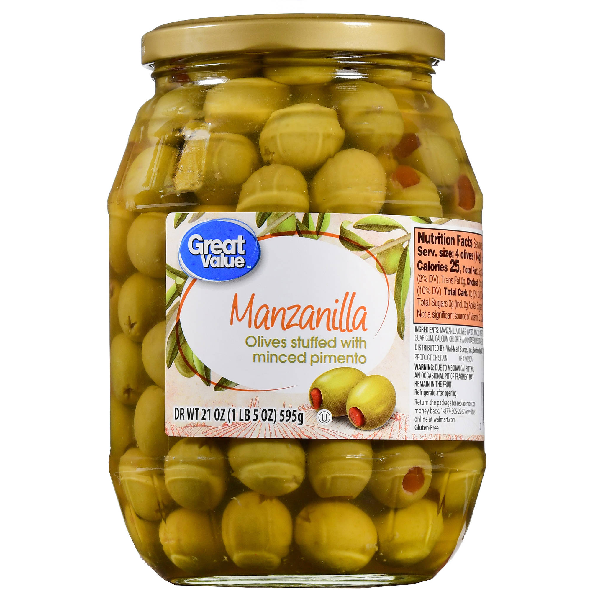 Great Value Minced Pimiento Stuffed Manzanilla Olives, 21 oz