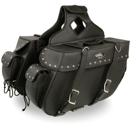 Milwaukee Leather Large Zip-Off PVC Throw Over Riveted Saddlebags