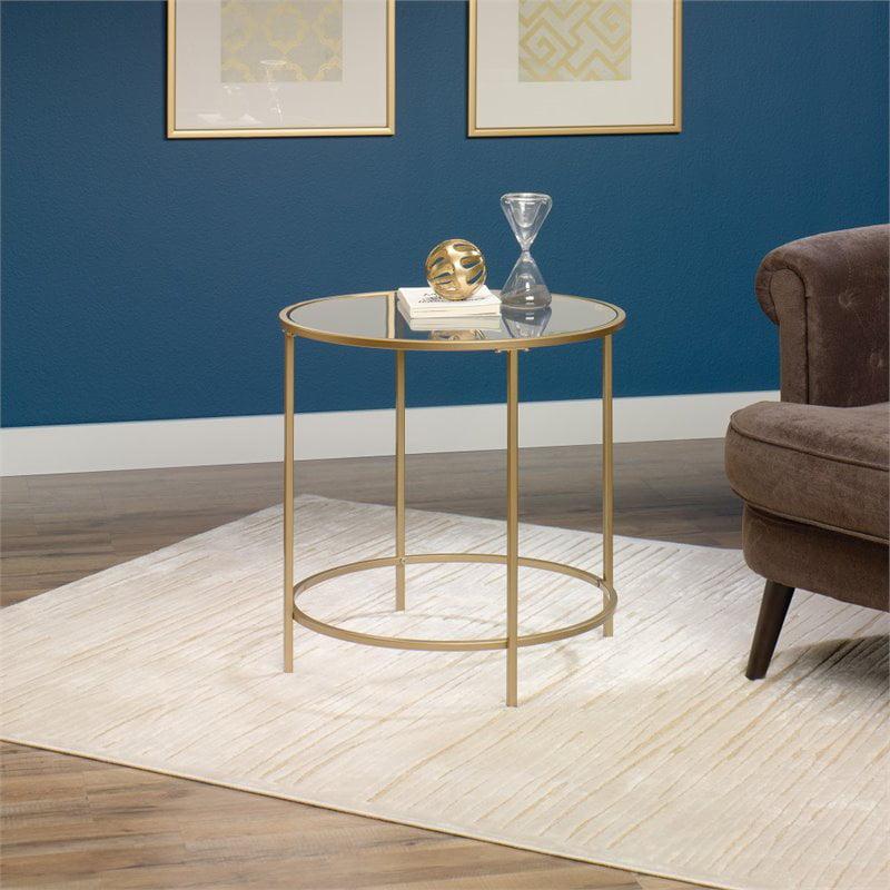 Sauder International Lux Round Side Table Satin Gold