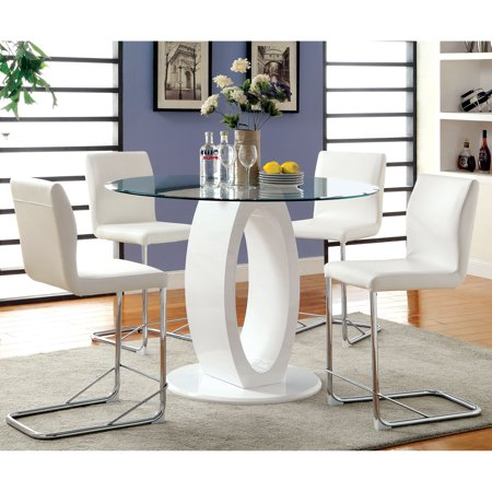 Furniture Of America Olgette Contemporary Dining Table By Foa White 48 Dia X 36 H Glossy Finish