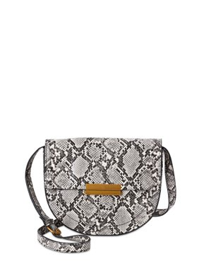 Scoop Women's Faux Leather Snake Crossbody Saddle Bag