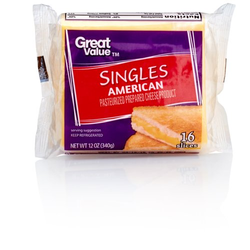 Great Value Pasteurized Prepared American Singles Cheese Product, 12 oz