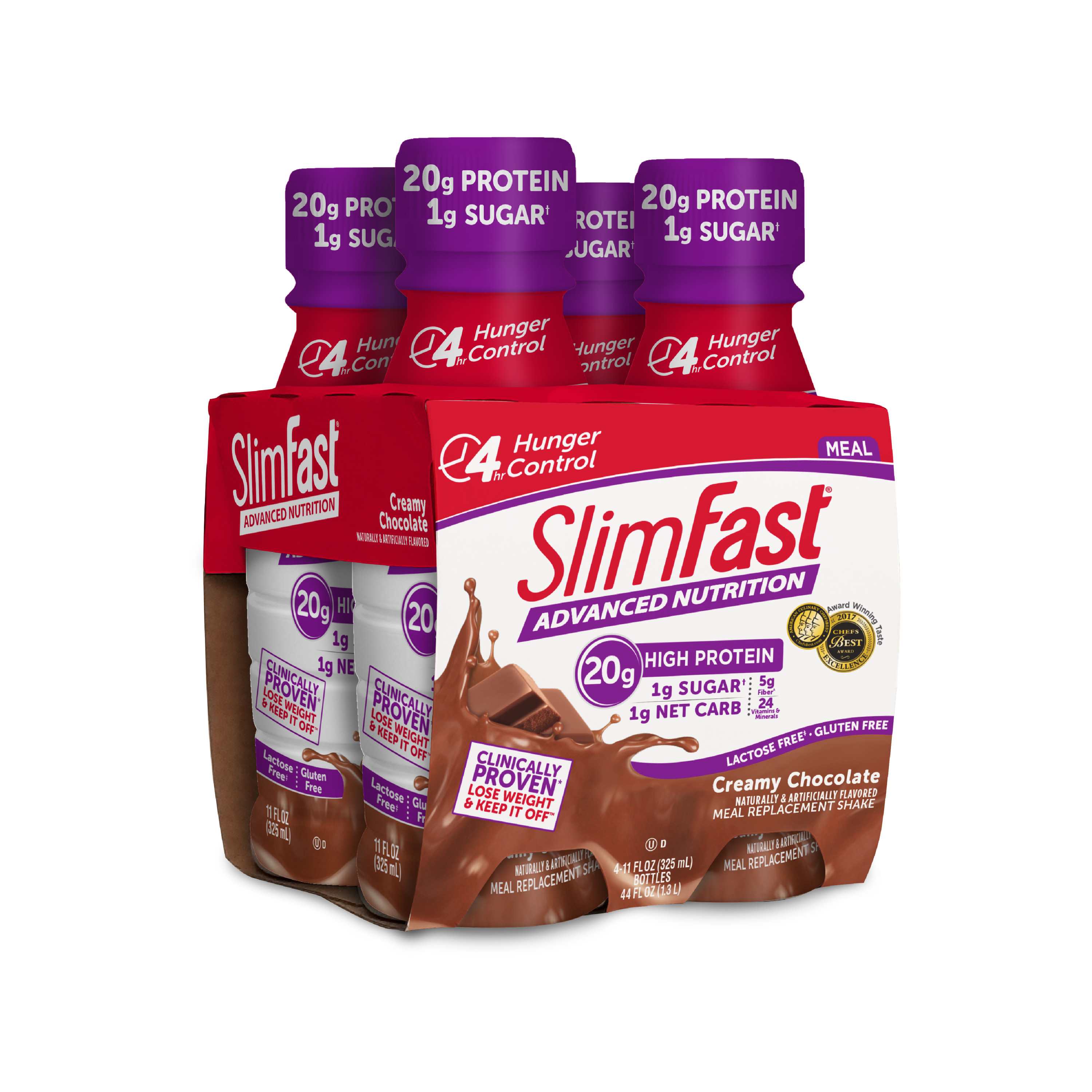 SlimFast Advanced Nutrition High Protein Ready to Drink Meal Replacement Shakes, Creamy Chocolate, 11 fl. oz., 4 pack