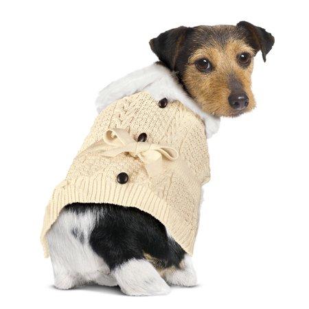 Thick Knit Dog Cardigan Sweater, Warm Pet Winter Clothing, Large ()