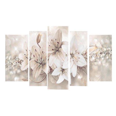 Moaere 5Pcs Artwork Abstract Landscape Pictures Printed Flower Floral Canvas Print Home Office Decoration