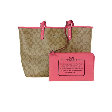 Coach F36658 Womens Handbag Large Pvc City Tote Reversible  Khaki Strawberry