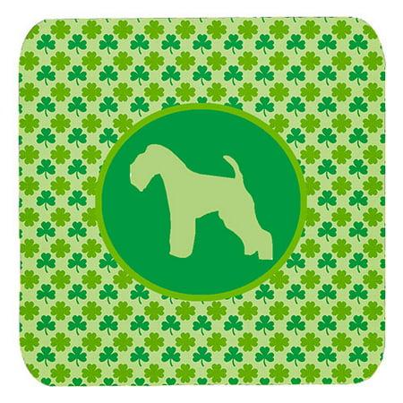 Set of 4 Lakeland Terrier Lucky Shamrock Foam Coasters