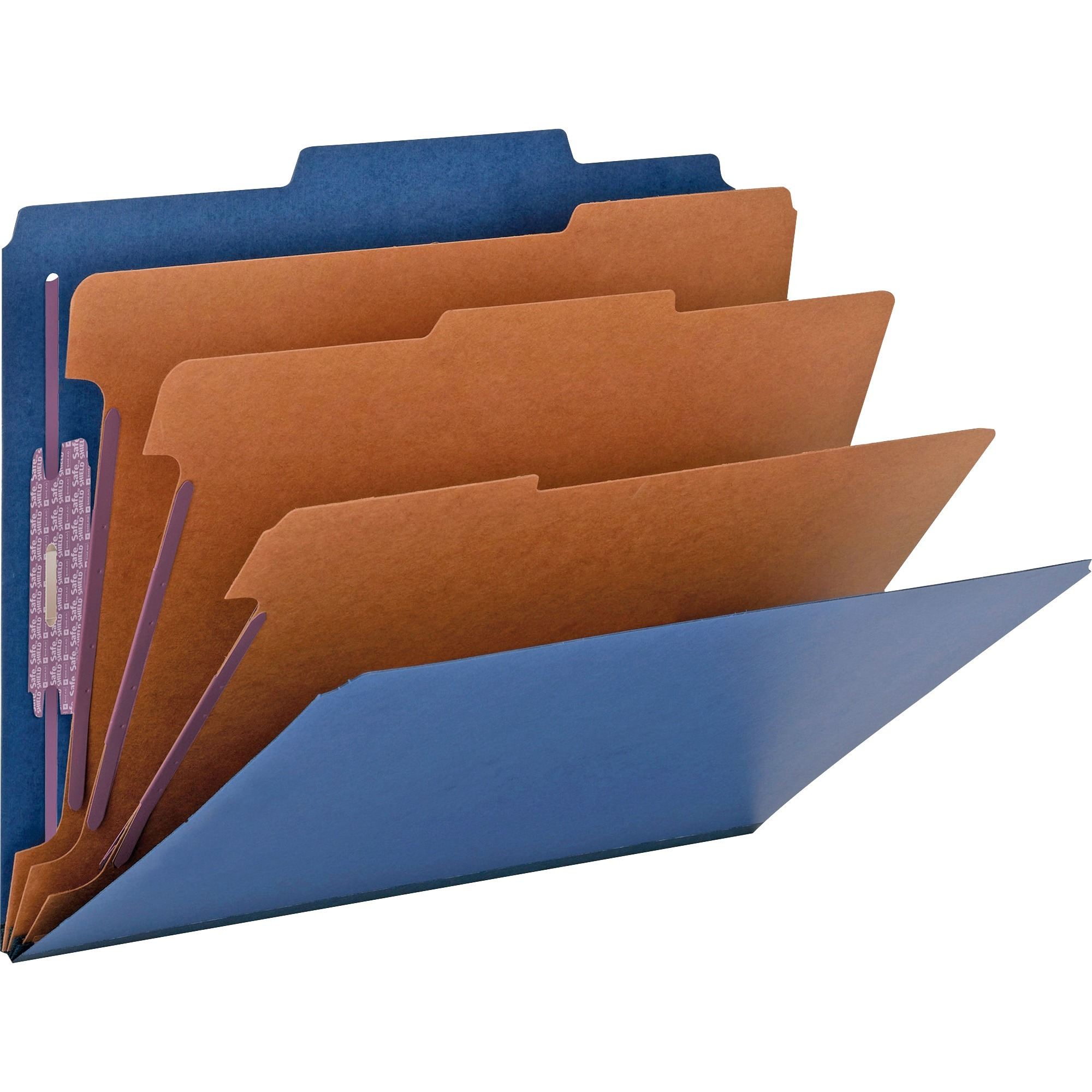 Smead, SMD14096, SafeSHIELD Fasteners 3-Div Classification Folders, 10 / Box, Dark Blue
