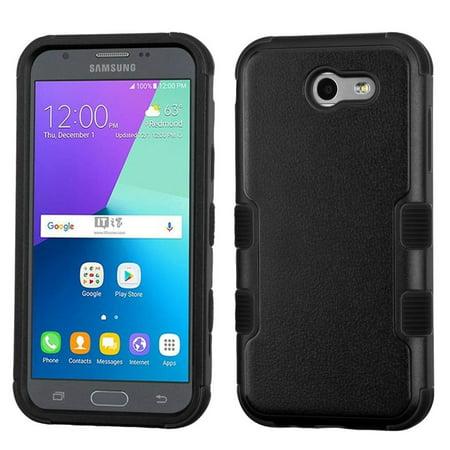 Insten For Samsung Galaxy J3 (2017) Black Tuff Hard Silicone Hybrid Rubber Case