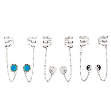 Lux Accessories Mood Disc Emoji Happy Face Smile Yin Yang Peace Ear Cuff Multiple Earrings Set