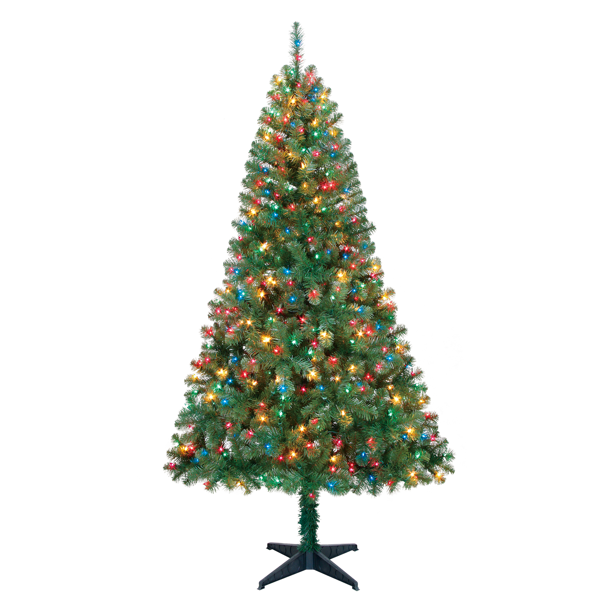Holiday Time 6.5ft Pre-Lit Madison Pine Artificial Christmas Tree with 350 Multicolored Lights - Green