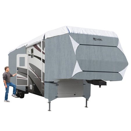 Classic Accessories OverDrive PolyPRO™ 3 Deluxe 5th Wheel Cover or Toy Hauler Cover, Fits 23' - 26' RVs - Max Weather Protection RV Cover, Grey/Snow