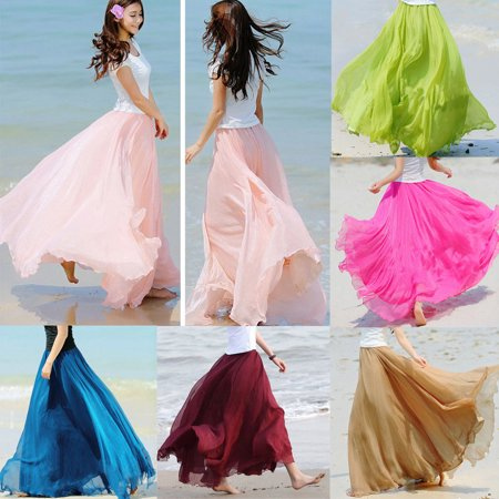 Women Boho Double Layer Maxi Dress Chiffon Long Sundress Summer Lady Beach Skirt - Pink Satin Ladies
