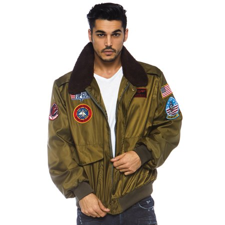 Men's Top Gun Licensed Bomber Jacket, Khaki, Large (Top Gun Bomber Jacket)