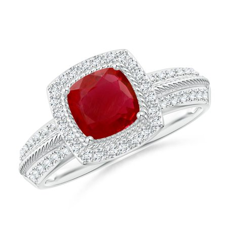 July Birthstone Ring - Twisted Rope Cushion Ruby Halo Ring in Platinum (6mm Ruby) - SR0242RD-PT-AA-6-5.5