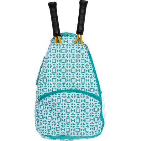 LISH Women's Deuce Geometric Square Printed Tennis Racket Holder Backpack -