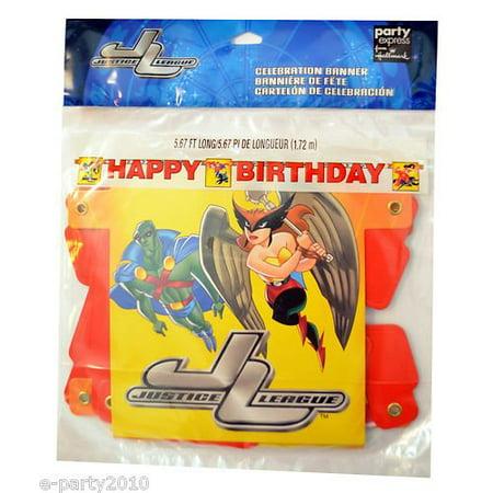 Justice League Vintage Happy Birthday Banner - Justice League Birthday