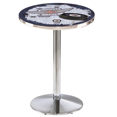 Holland Bar Stool L214C3636WinJet-D2 36 in. Winnipeg Jets Pub Table with 36 in. Top, Chrome - image 1 de 1