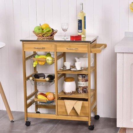 Kitchen Island Shelves - UBesGoo Rolling Kitchen Island Trolley Cart Storage Shelf Drawers Basket Dining