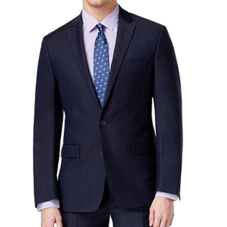 Worsted Wool Mens Blazer (Ryan Seacrest Mens Reg Modern Fit Two Button Wool)