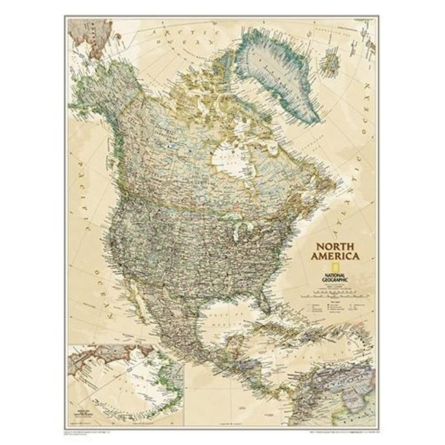 National Geographic Maps RE01020464 North America Executive Laminated