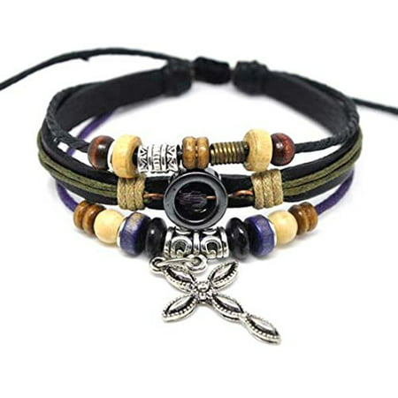 - Leather Cross Bracelet Christian Jesus Religious Jewelry