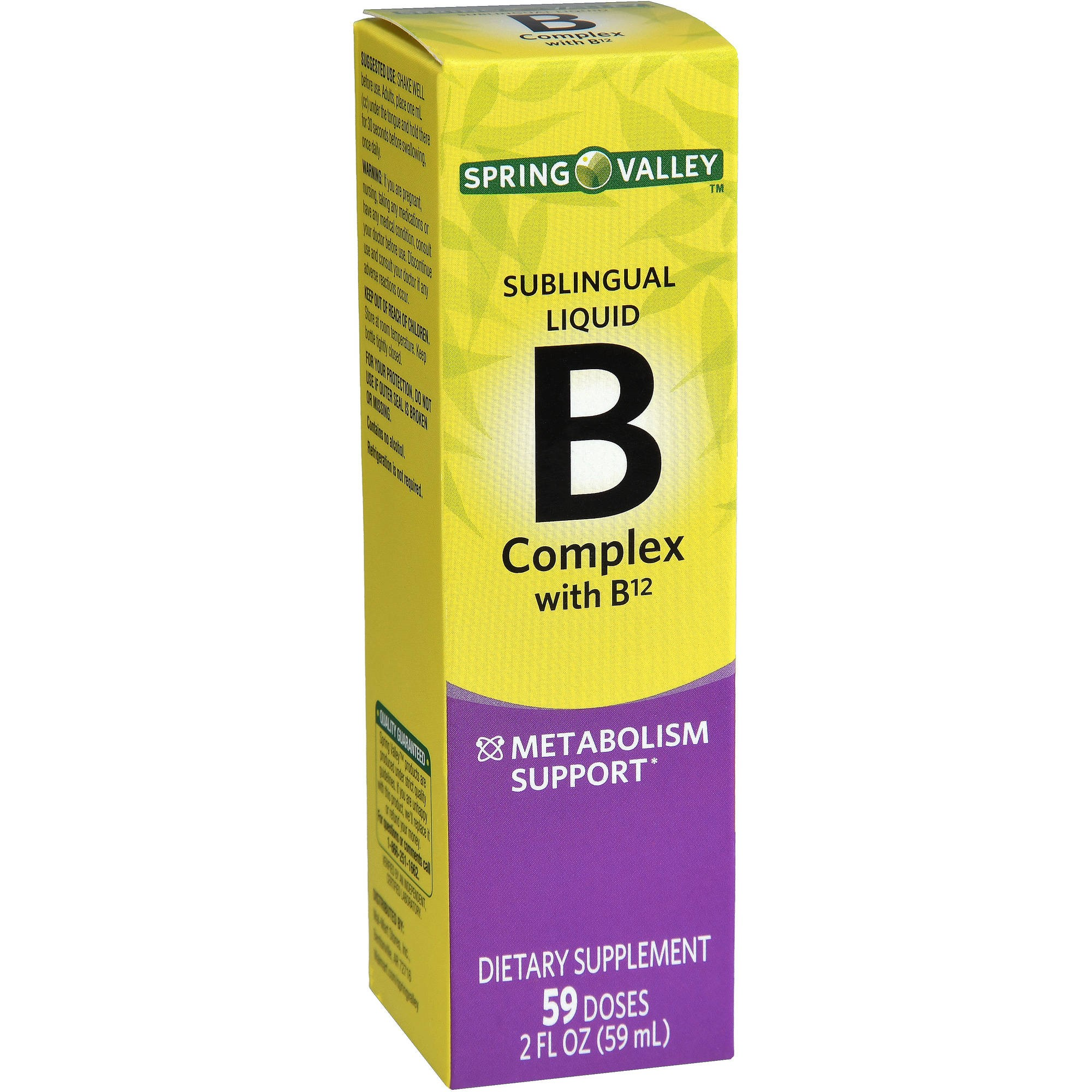 Spring Valley Vitamin B Complex Sublingual Liquid with B12, 59 Doses, 2 Fl Oz