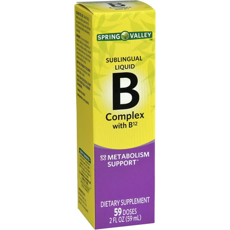 (2 Pack) Spring Valley Vitamin B Complex Sublingual Liquid with B12, 59 Doses, 2 Fl (2 Oz Inositol Powder)