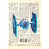 Art N Wordz Star Wars Tie Fighter Spacecraft Original Dictionary Sheet Pop Art Wall or Desk Art Print Poster