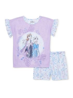 Disney Frozen 2 Girls Exclusive 4-14 Short Ruffle Sleeve 2-Piece Pajama Set