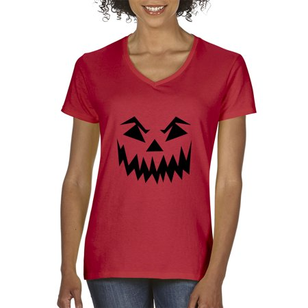Trendy USA 972 - Women's V-Neck T-Shirt Scary Halloween Pumpkin Face Jack O Lantern Large Red - Halloween Usa Promo