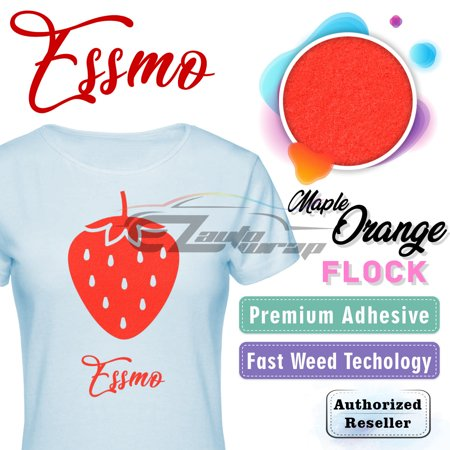"ESSMO Maple Orange Flock Heat Transfer Vinyl HTV Sheet T-Shirt 20"" Wide Iron On Heat Press 20""x600"""