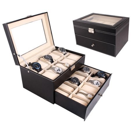 Large 20 Slots Leather Men Watch Storage Box Display Case Organizer Glass Top Jewelry Storage ()