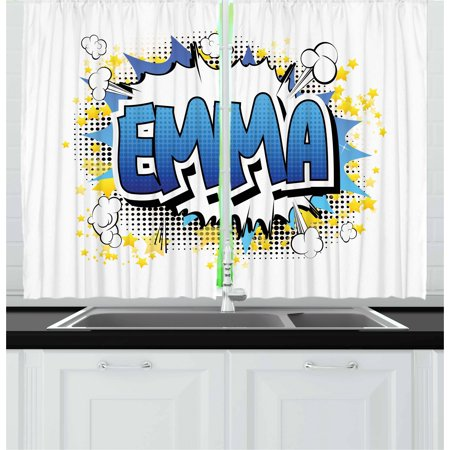 Emma Curtains 2 Panels Set, Youthful Energetic Name Design for Teenage Girls Cartoon Stars and Burst, Window Drapes for Living Room Bedroom, 55W X 39L Inches, Blue Yellow and Black, by