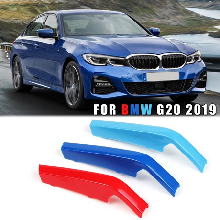 - 3 Color Car Front Kidney Grill Grille M Style Decal Strip Clip Bars For BMW 3 Series G20 2019 ABS Plastic