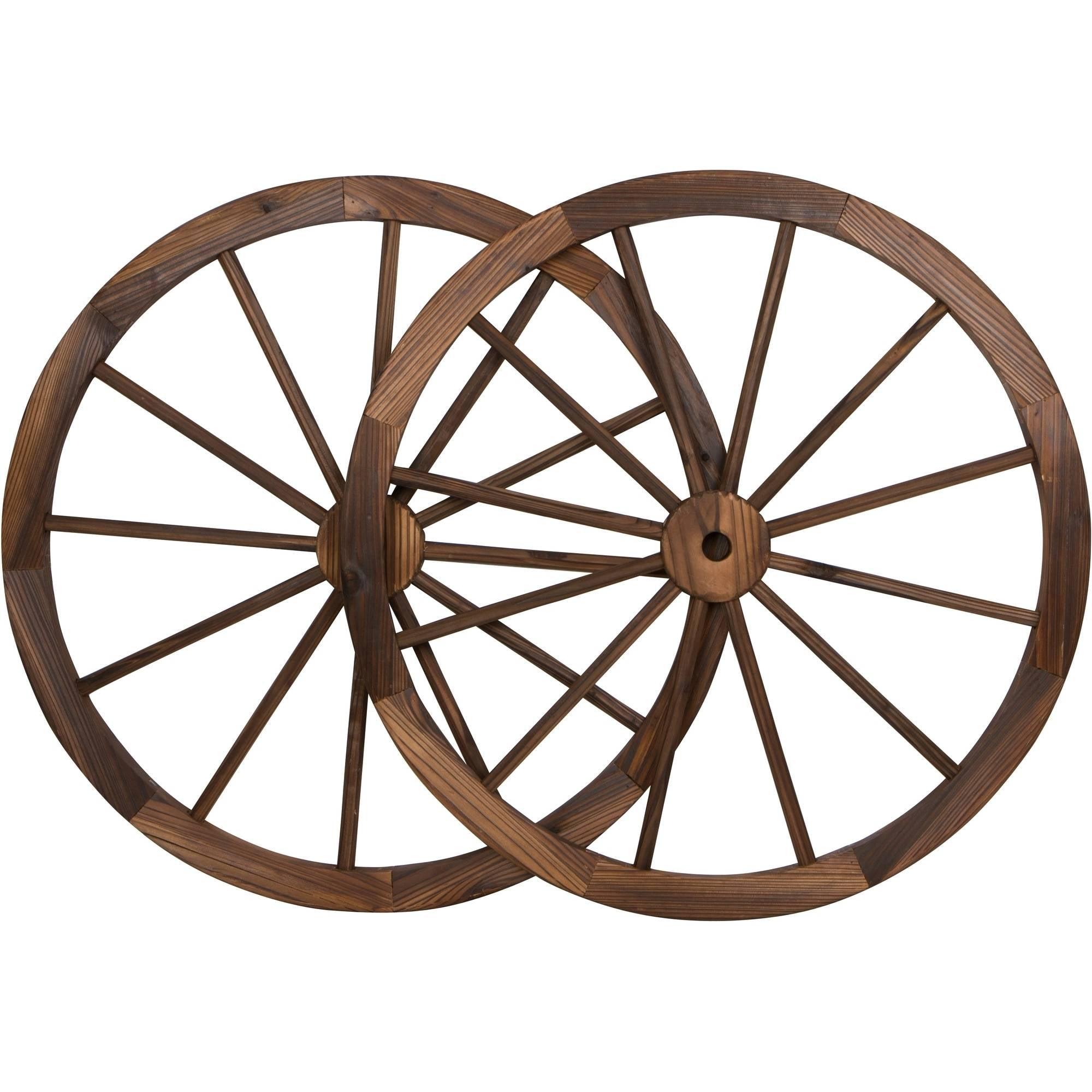 "Decorative Vintage Wood Garden Wagon Wheel With Steel Rim, 30"" Diameter, Set of 2"