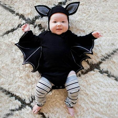 Warm Weather Halloween Costumes Toddlers (Tuscom Toddler Newborn Baby Boys Girls Halloween Bat Cosplay Costume Romper Hat Outfits)