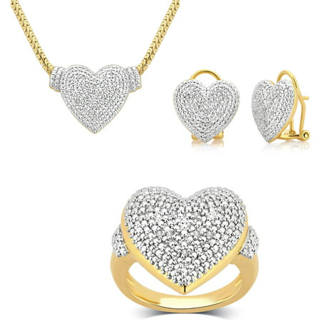 1/4 Carat T.W. Round White Diamond Gold Tone plated Ring, Earrings and Necklace Set, (Faux Gold Tone Jewelry Set)