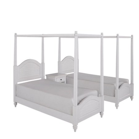 Bermuda White Two Twin Canopy Beds And Night Stand