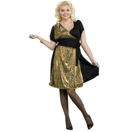 Disco Gold Womens Plus Size Costume Size 16 22 Walmart
