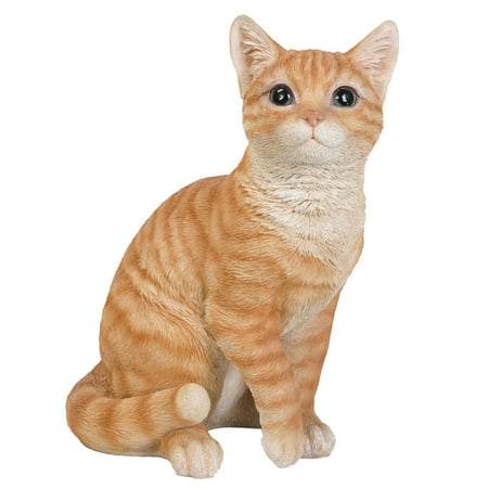Animal Collection Life Size Orange Tabby Cat Figurine Statue 12 inches